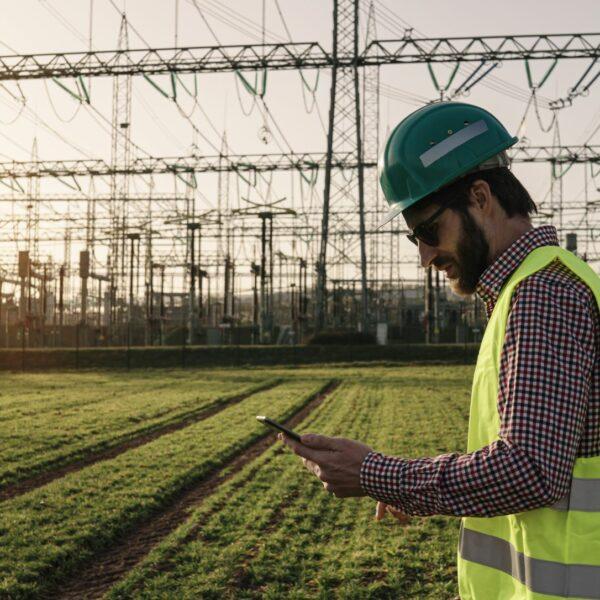 Power worker in the field