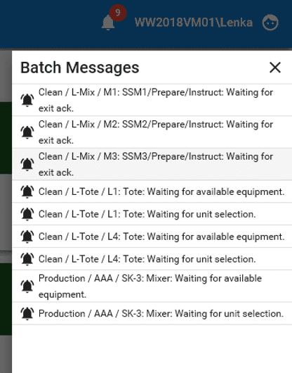 AVEVA Batch Management Messages