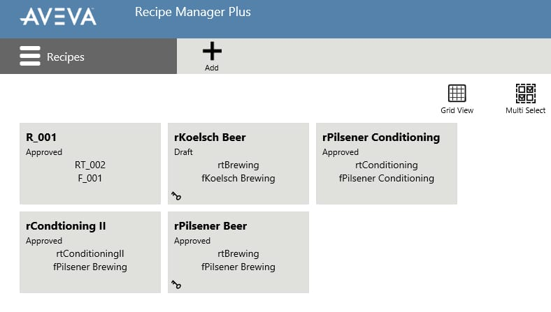 AVEVA Recipe Management Recipes